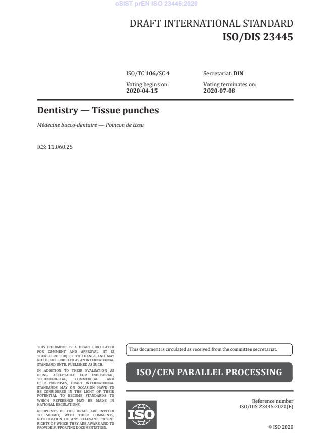 oSIST prEN ISO 23445:2020