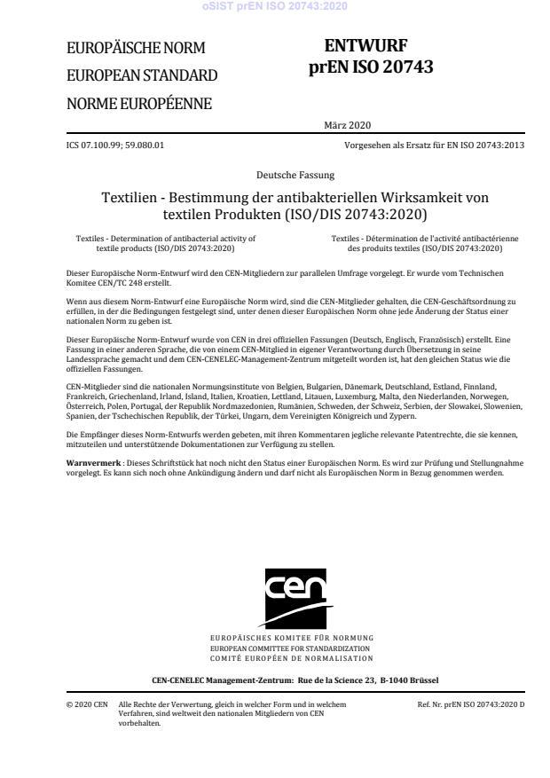 oSIST prEN ISO 20743:2020