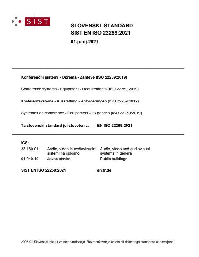 SIST EN ISO 22259:2021