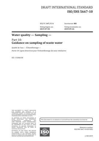 ISO/PRF 5667-10:Version 24-apr-2020 - Water quality -- Sampling