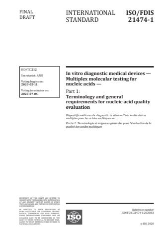 ISO/FDIS 21474-1 - In vitro diagnostic medical devices -- Multiplex molecular testing for nucleic acids