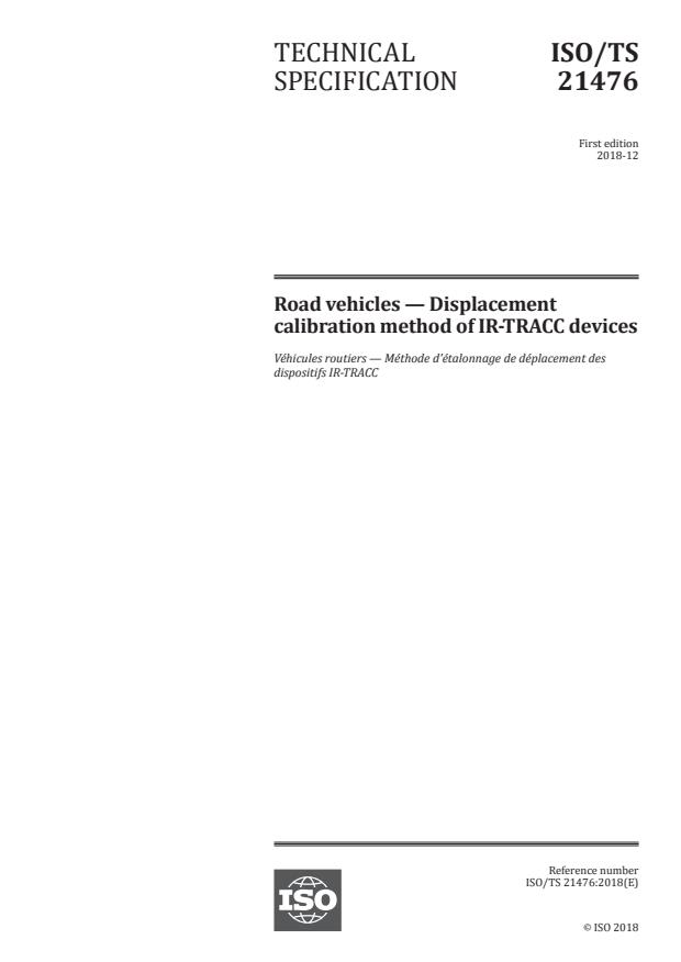 ISO/TS 21476:2018 - Road vehicles -- Displacement calibration method of IR-TRACC devices