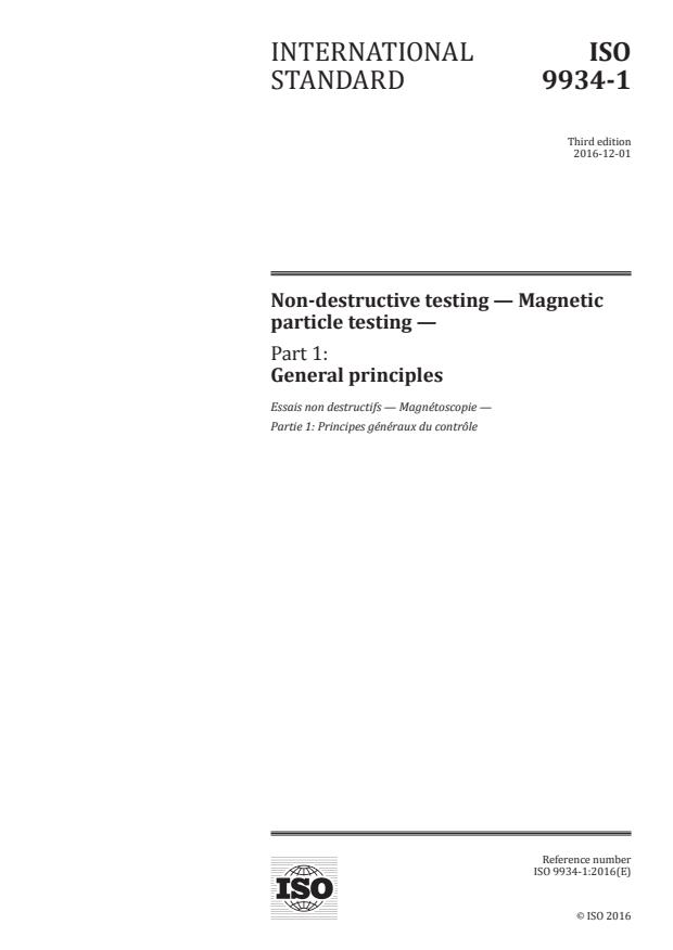 ISO 9934-1:2016 - Non-destructive testing -- Magnetic particle testing