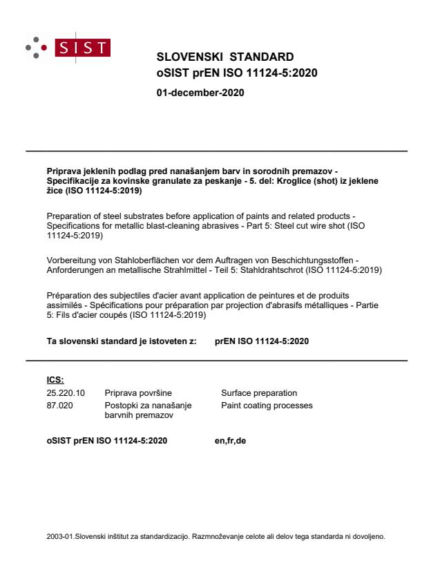 oSIST prEN ISO 11124-5:2020