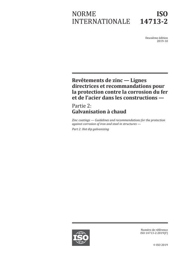 ISO 14713-2:2019 - Revetements de zinc -- Lignes directrices et recommandations pour la protection contre la corrosion du fer et de l'acier dans les constructions