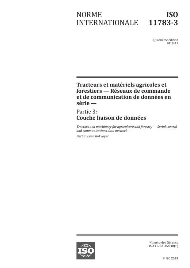ISO 11783-3:2018 - Tracteurs et matériels agricoles et forestiers -- Réseaux de commande et de communication de données en série
