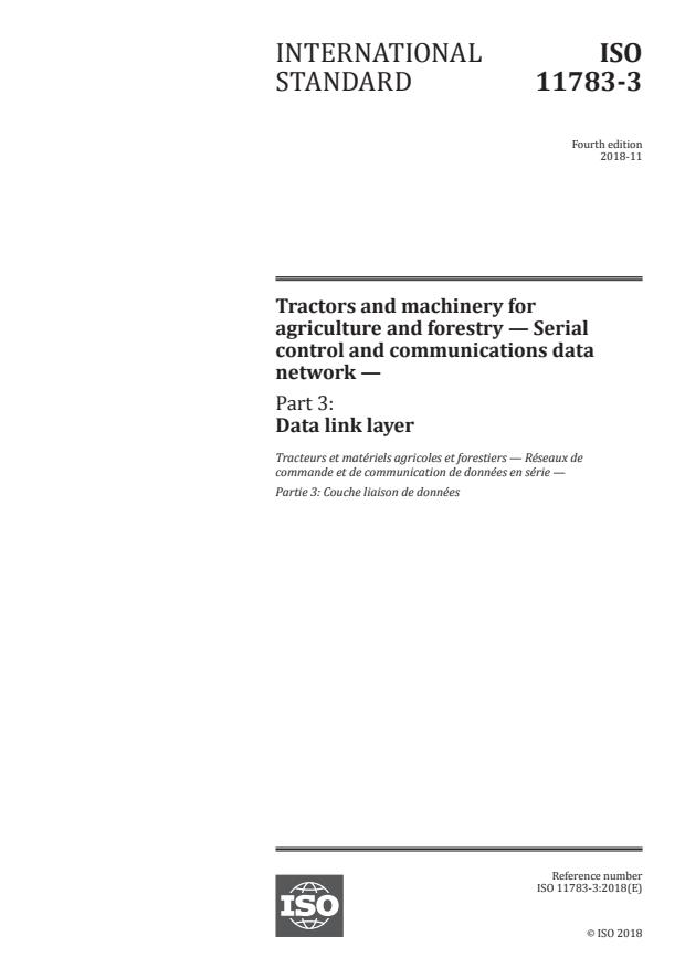 ISO 11783-3:2018 - Tractors and machinery for agriculture and forestry -- Serial control and communications data network