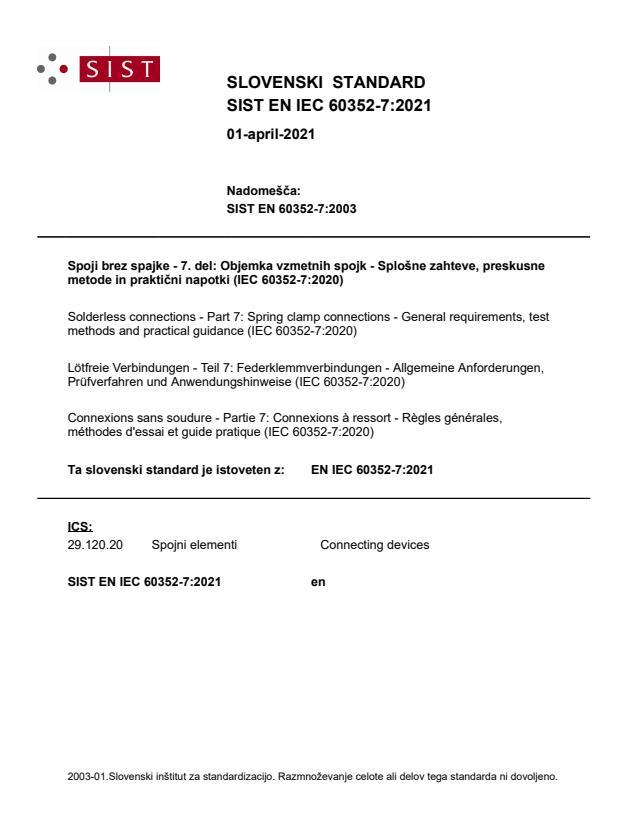 SIST EN IEC 60352-7:2021