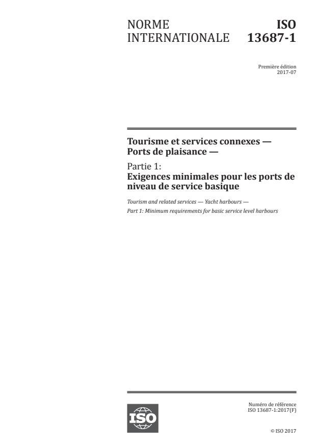 ISO 13687-1:2017 - Tourisme et services connexes -- Ports de plaisance