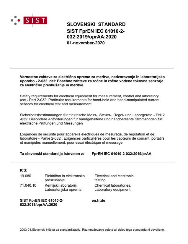 FprEN IEC 61010-2-032:2019/oprAA:2020