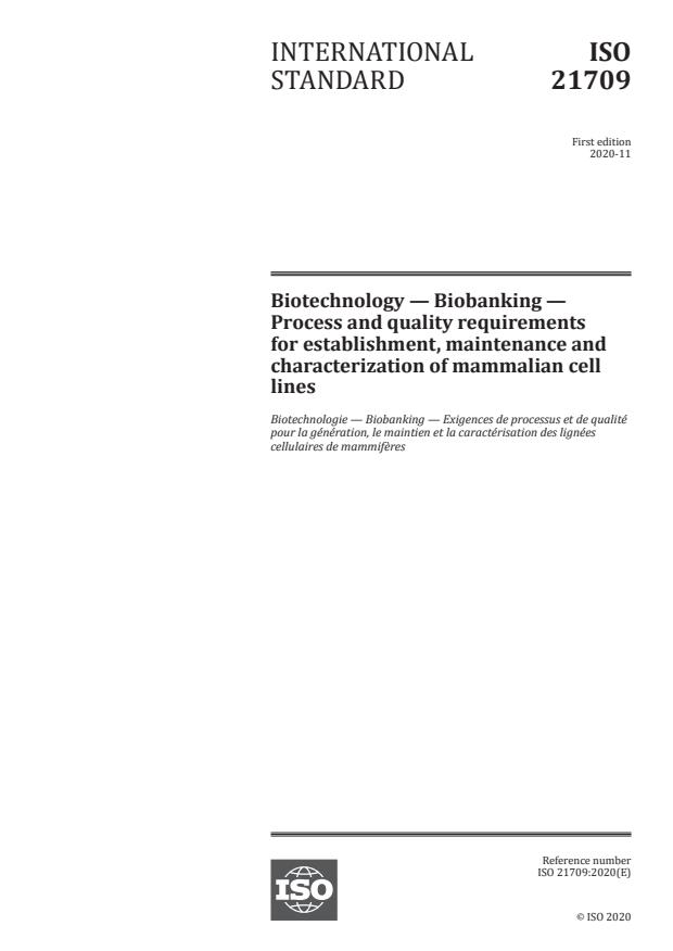 ISO 21709:2020 - Biotechnology -- Biobanking -- Process and quality requirements for establishment, maintenance and characterization of mammalian cell lines