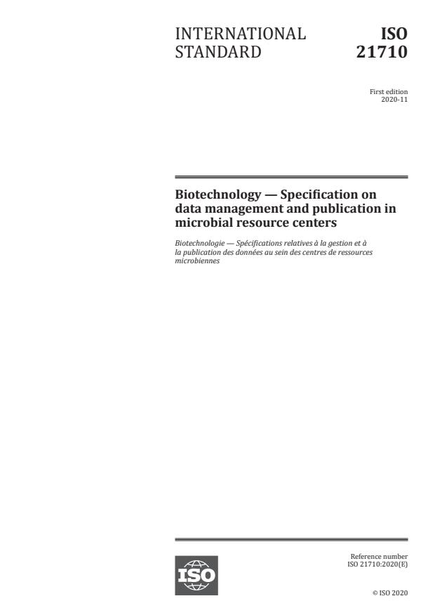 ISO 21710:2020 - Biotechnology -- Specification on data management and publication in microbial resource centers