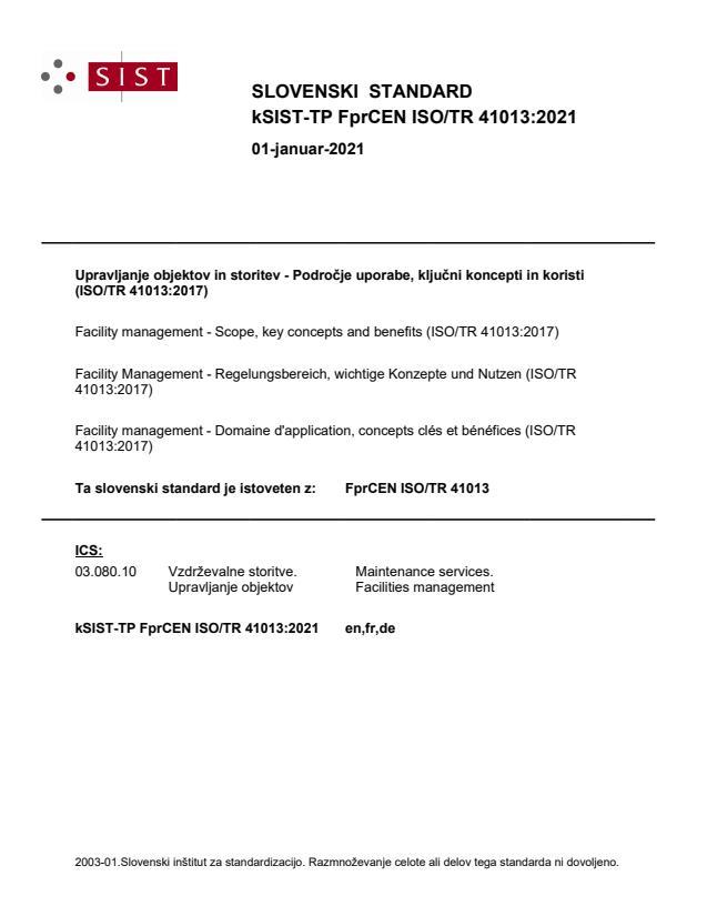 kSIST-TP FprCEN ISO/TR 41013:2021