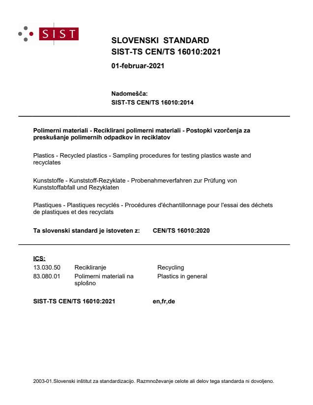 SIST-TS CEN/TS 16010:2021