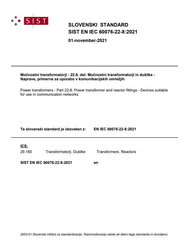 SIST EN IEC 60076-22-8:2021
