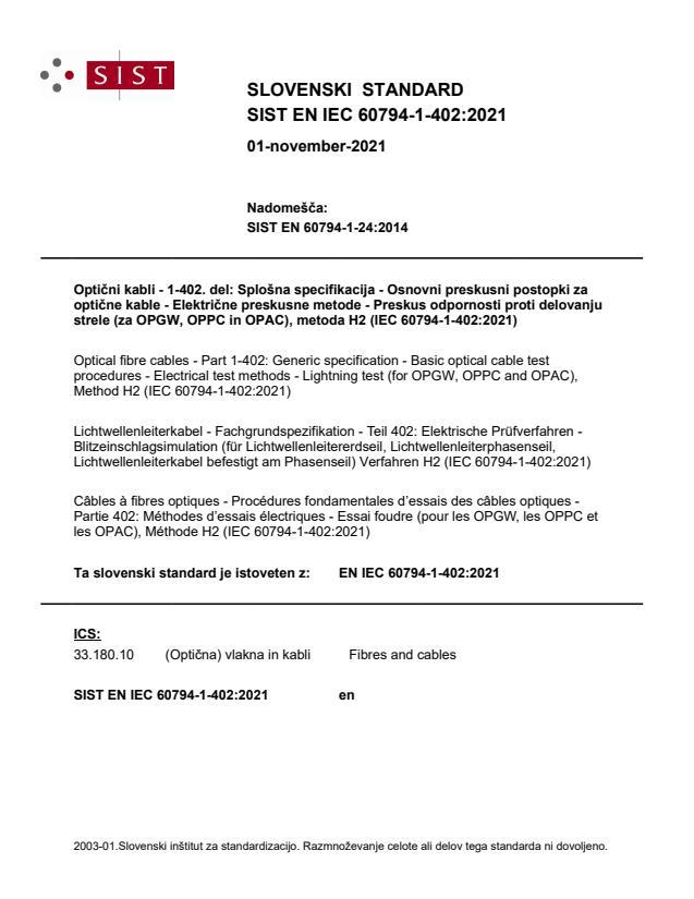 SIST EN IEC 60794-1-402:2021