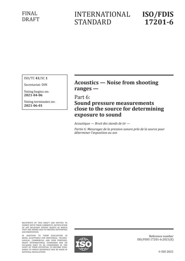 ISO/FDIS 17201-6:Version 03-apr-2021 - Acoustics -- Noise from shooting ranges