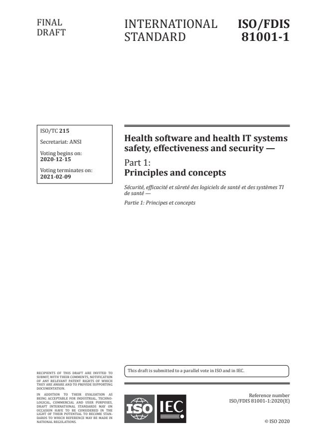 ISO/FDIS 81001-1:Version 12-dec-2020 - Health software and health IT systems safety, effectiveness and security
