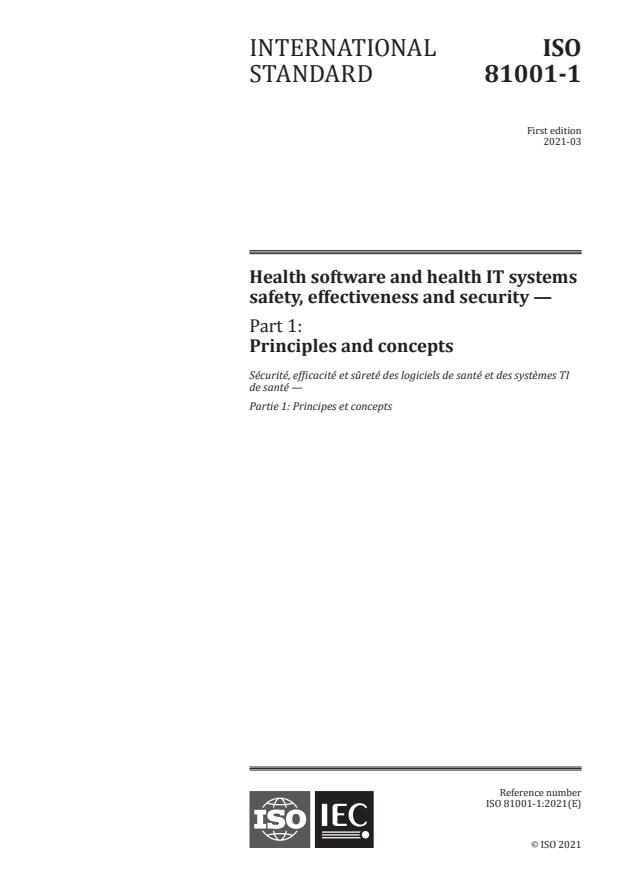 ISO 81001-1:2021 - Health software and health IT systems safety, effectiveness and security