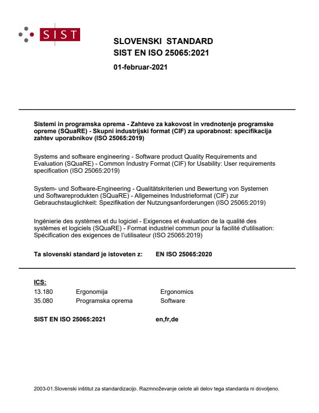 SIST EN ISO 25065:2021