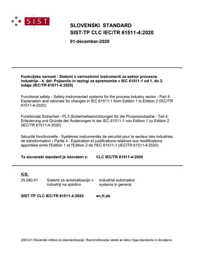 SIST-TP CLC IEC/TR 61511-4:2020