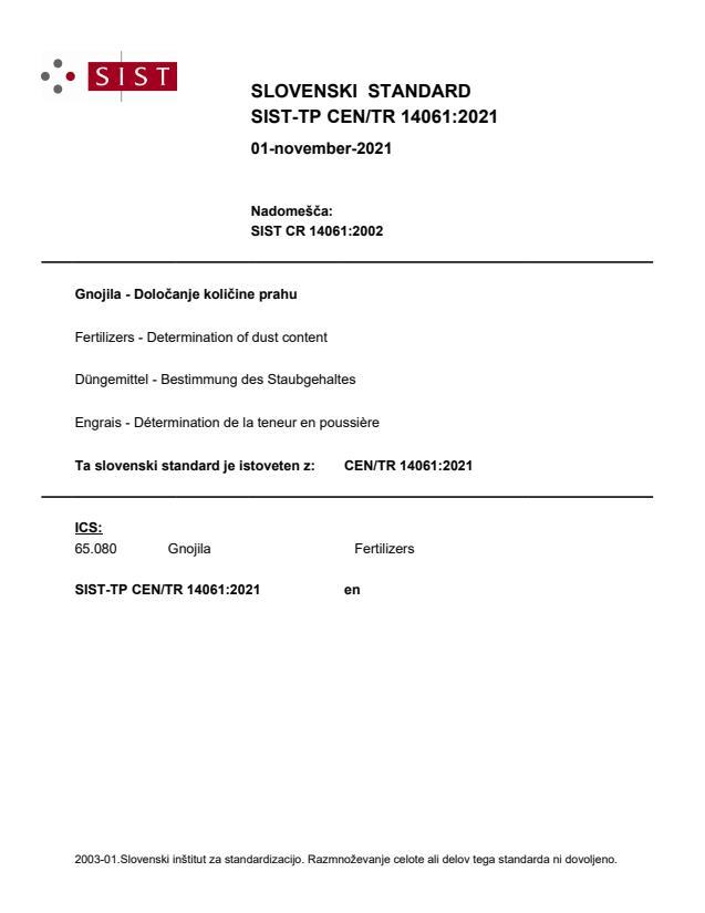 SIST-TP CEN/TR 14061:2021