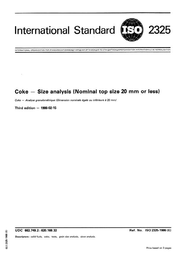 ISO 2325:1986 - Coke -- Size analysis (Nominal top size 20 mm or less)