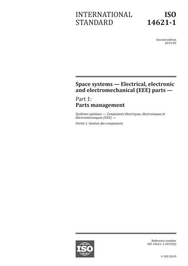ISO 14621-1:2019 - Space systems -- Electrical, electronic and electromechanical (EEE) parts