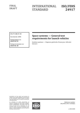 ISO/FDIS 24917 - Space systems -- General test requirements for launch vehicles