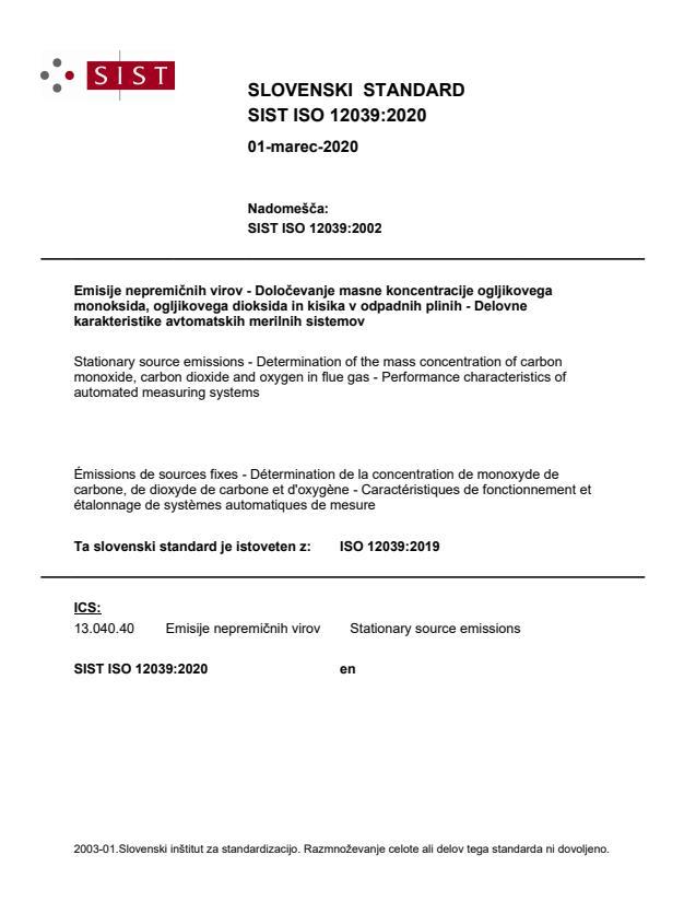 SIST ISO 12039:2020
