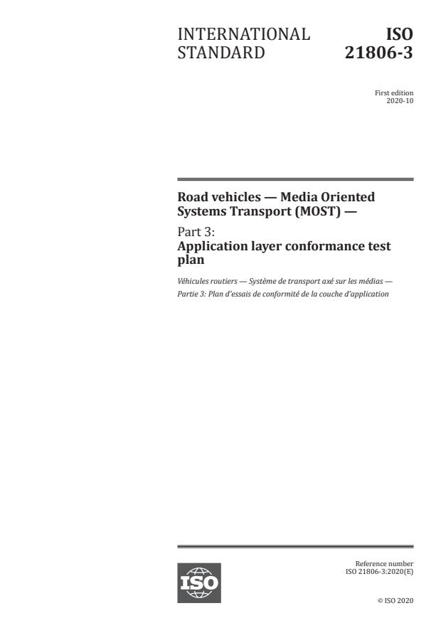 ISO 21806-3:2020 - Road vehicles -- Media Oriented Systems Transport (MOST)