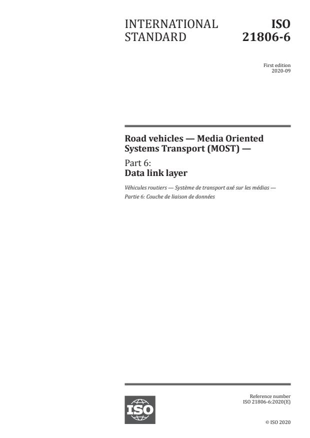 ISO 21806-6:2020 - Road vehicles -- Media Oriented Systems Transport (MOST)