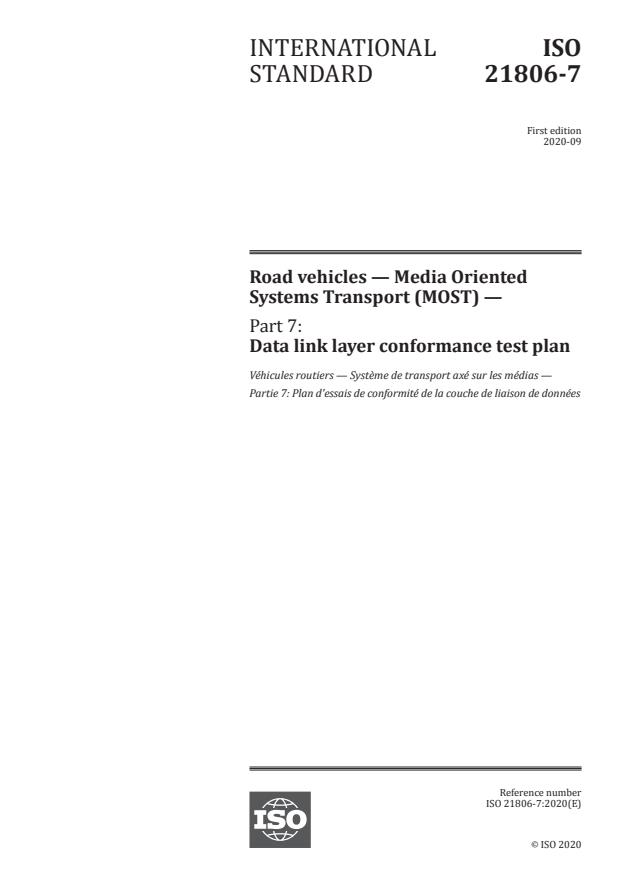 ISO 21806-7:2020 - Road vehicles -- Media Oriented Systems Transport (MOST)