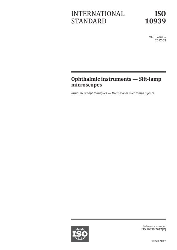ISO 10939:2017 - Ophthalmic instruments -- Slit-lamp microscopes