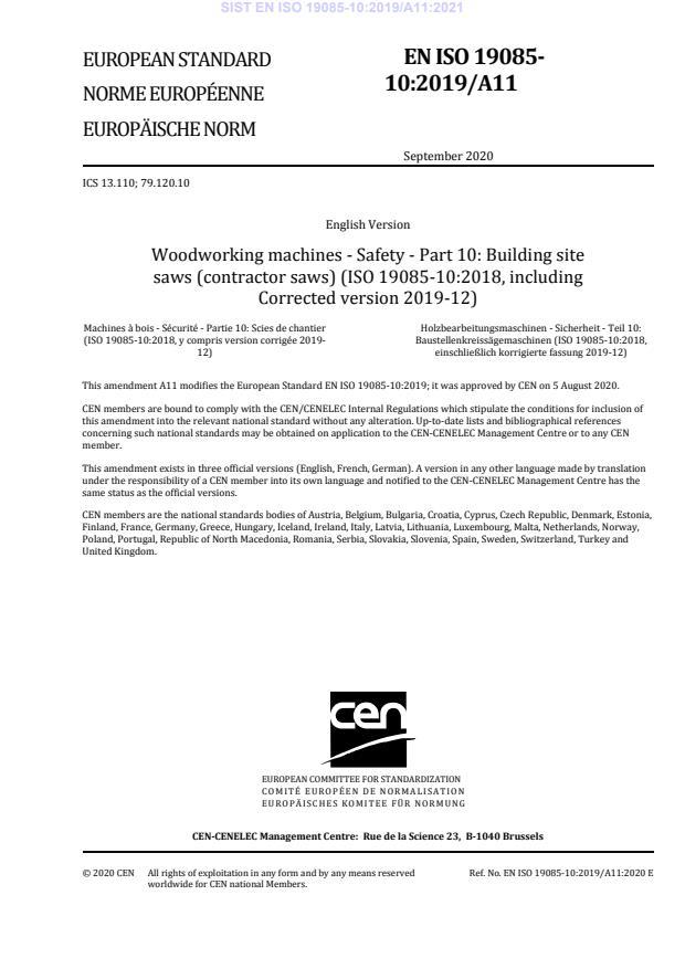 SIST EN ISO 19085-10:2019/A11:2021
