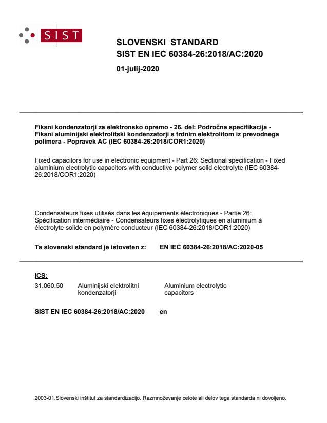 SIST EN IEC 60384-26:2018/AC:2020