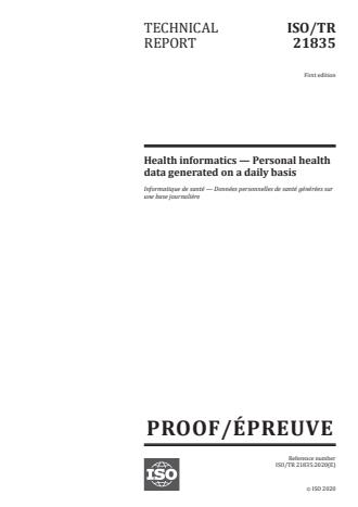 ISO/PRF TR 21835 - Health informatics -- Personal health data generated on a daily basis