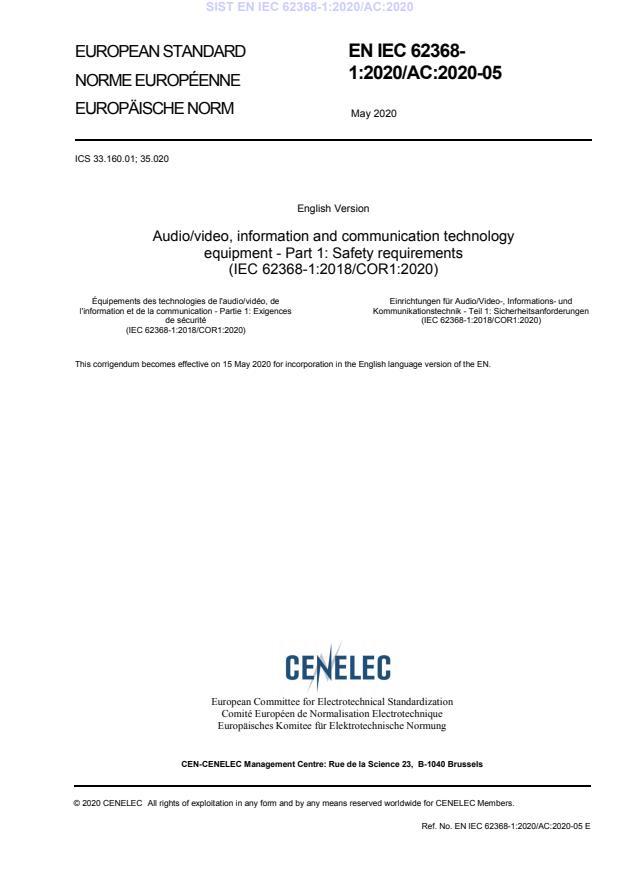 SIST EN IEC 62368-1:2020/AC:2020