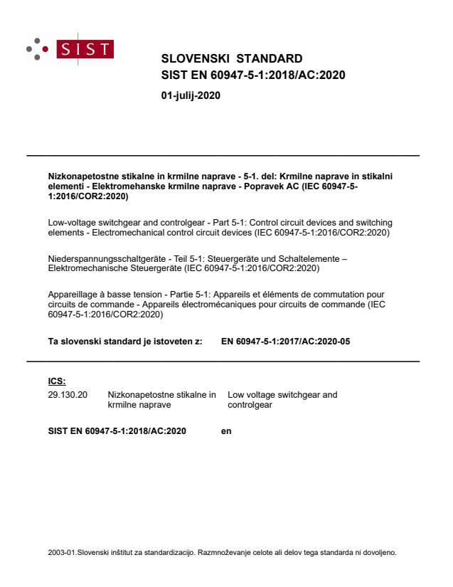 SIST EN 60947-5-1:2018/AC:2020