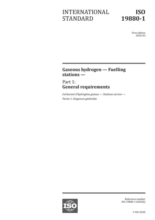 ISO 19880-1:2020 - Gaseous hydrogen -- Fuelling stations