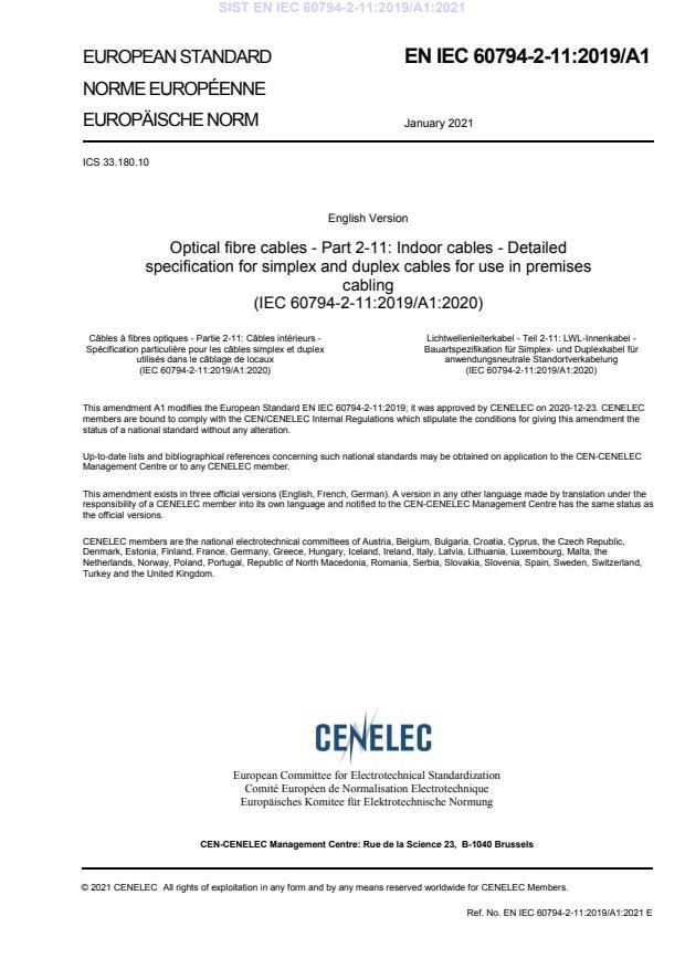 SIST EN IEC 60794-2-11:2019/A1:2021