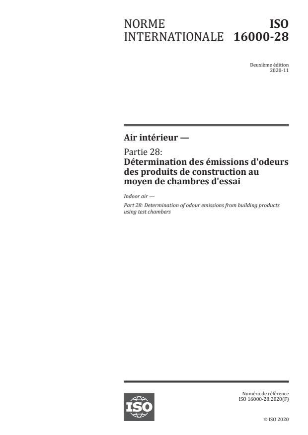 ISO 16000-28:2020 - Air intérieur