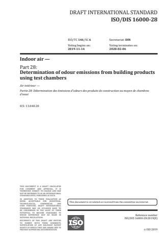 ISO/FDIS 16000-28:Version 24-apr-2020 - Indoor air