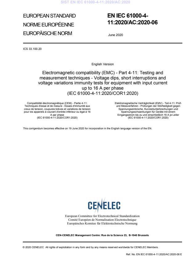 SIST EN IEC 61000-4-11:2020/AC:2020