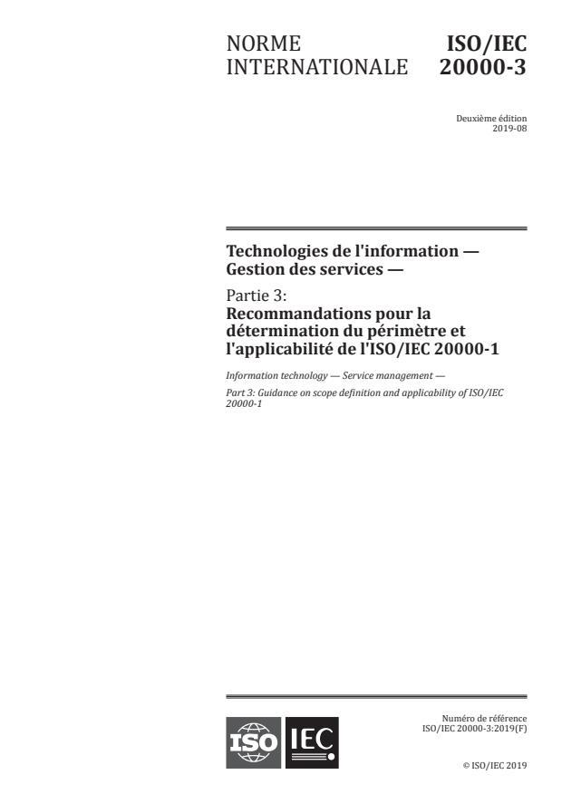 ISO/IEC 20000-3:2019 - Technologies de l'information -- Gestion des services