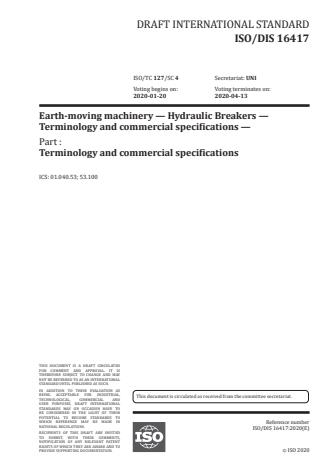 ISO/FDIS 16417:Version 24-apr-2020 - Earth-moving machinery -- Hydraulic breakers -- Terminology and commercial specifications
