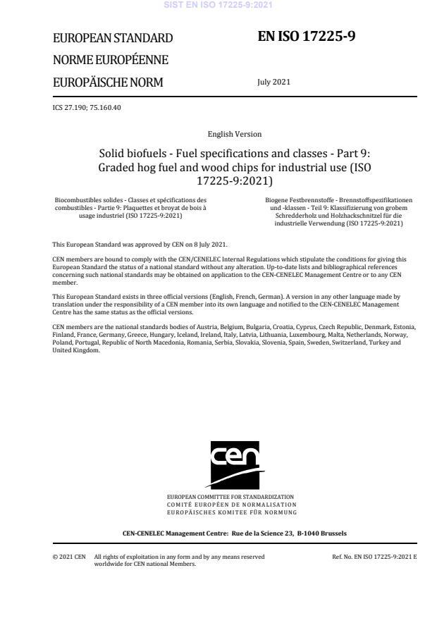 SIST EN ISO 17225-9:2021