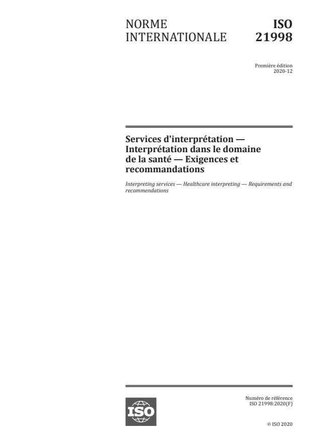 ISO 21998:2020 - Services d'interprétation -- Interprétation dans le domaine de la santé -- Exigences et recommandations