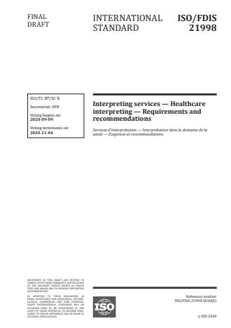 ISO/FDIS 21998:Version 13-okt-2020 - Interpreting services -- Healthcare interpreting -- Requirements and recommendations