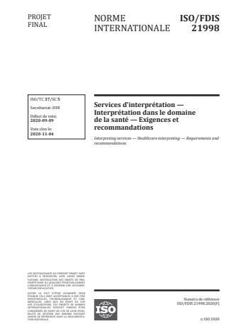 ISO/FDIS 21998:Version 13-okt-2020 - Services d'interprétation -- Interprétation dans le domaine de la santé -- Exigences et recommandations